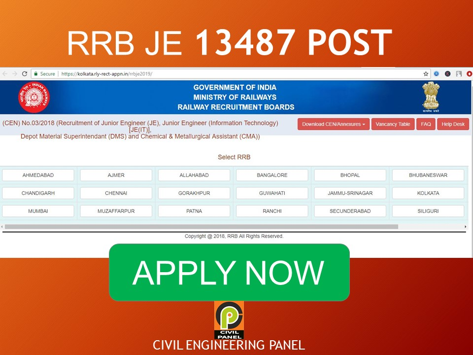 RRB JE RAILWAY RECRUITMENT 2019 for 13487 POST